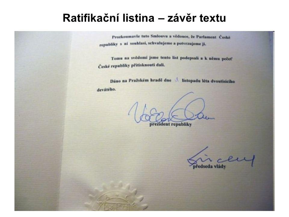 Ratifikační listina – závěr textu
