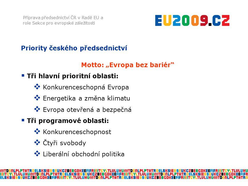 """Priority českého předsednictví Příprava předsednictví ČR v Radě EU a role Sekce pro evropské záležitosti Motto: """"Evropa bez bariér""""  Tři hlavní prior"""