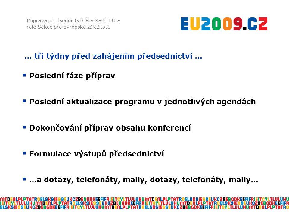 … tři týdny před zahájením předsednictví … Příprava předsednictví ČR v Radě EU a role Sekce pro evropské záležitosti  Poslední fáze příprav  Posledn