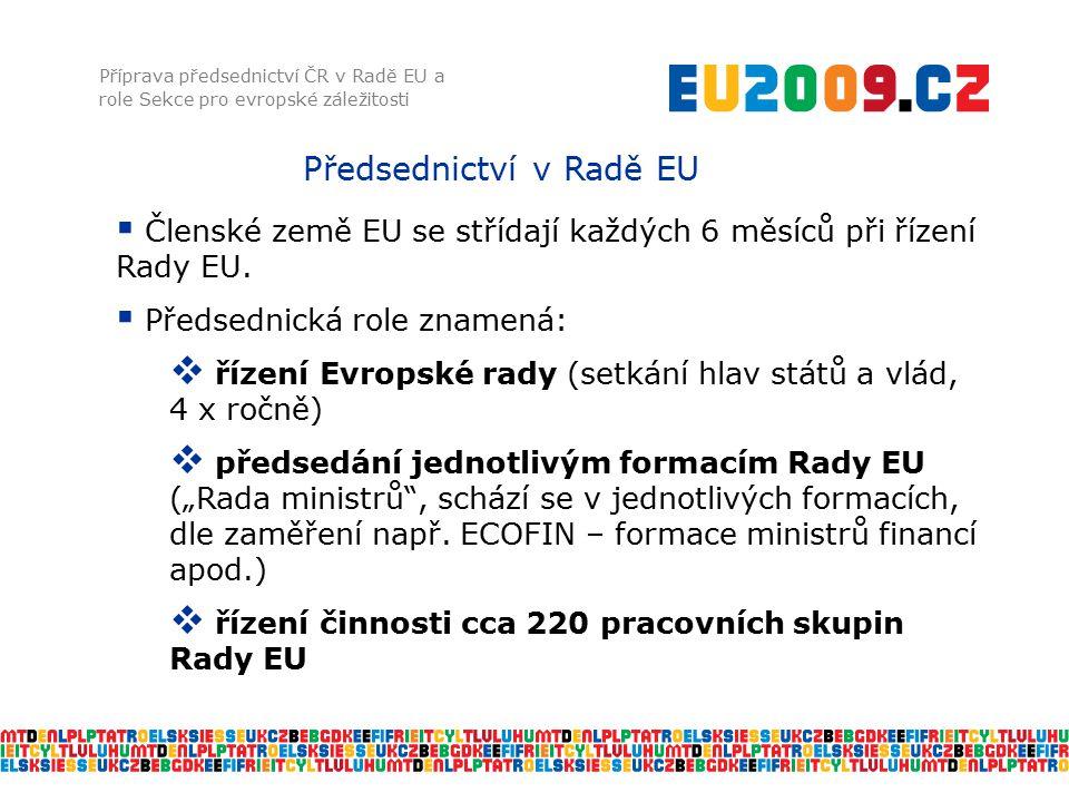 Předsednictví v Radě EU Příprava předsednictví ČR v Radě EU a role Sekce pro evropské záležitosti  Členské země EU se střídají každých 6 měsíců při ř