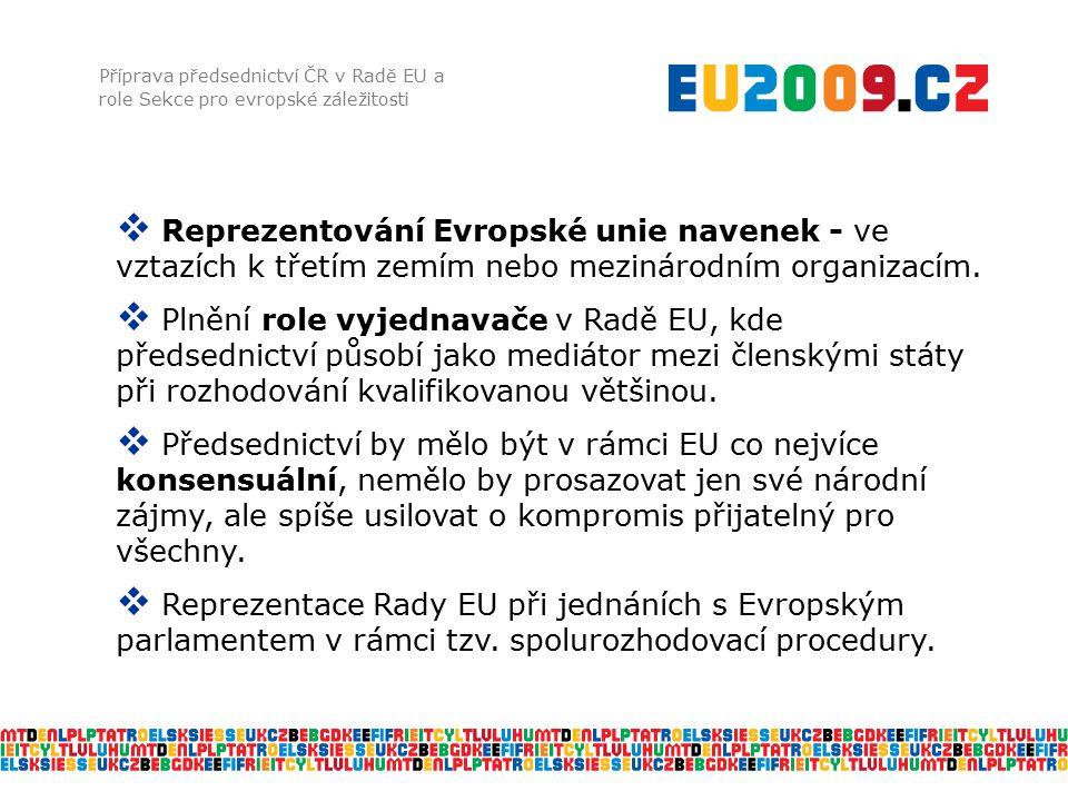 Příprava předsednictví ČR v Radě EU a role Sekce pro evropské záležitosti  Reprezentování Evropské unie navenek - ve vztazích k třetím zemím nebo mezinárodním organizacím.