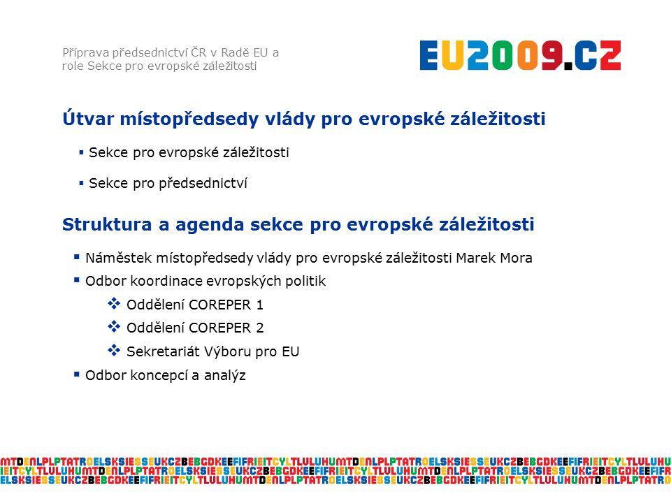 Struktura a agenda sekce pro evropské záležitosti Příprava předsednictví ČR v Radě EU a role Sekce pro evropské záležitosti  Náměstek místopředsedy v