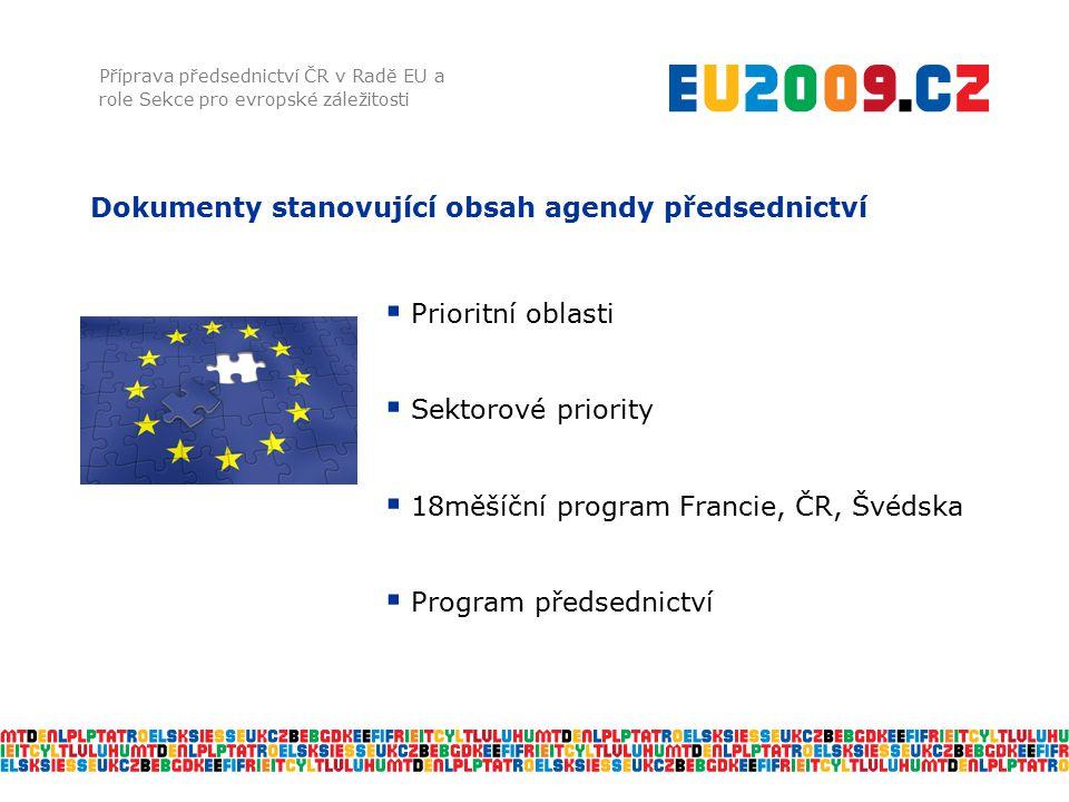 Dokumenty stanovující obsah agendy předsednictví Příprava předsednictví ČR v Radě EU a role Sekce pro evropské záležitosti  Prioritní oblasti  Sekto