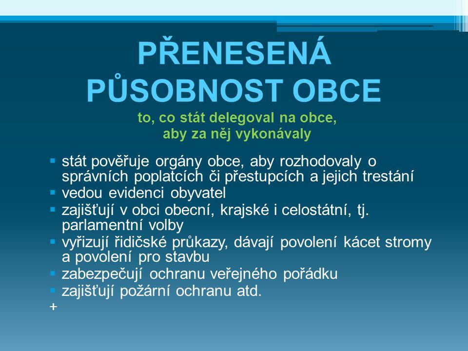 PŘENESENÁ PŮSOBNOST OBCE to, co stát delegoval na obce, aby za něj vykonávaly  stát pověřuje orgány obce, aby rozhodovaly o správních poplatcích či p