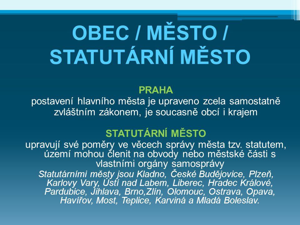 OBEC / MĚSTO / STATUTÁRNÍ MĚSTO MĚSTO obec, která má alespoň 3 000 obyvatel, je městem, pokud tak stanoví předseda Poslanecké sněmovny po vyjádření vlády; historicky uznaná města OBEC všechny územní jednotky (i města a statutární města)