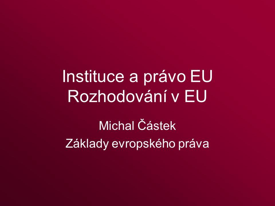 Obsah I. Instituce EU II. Prameny práva EU III. Schvalování sekundárního práva EU