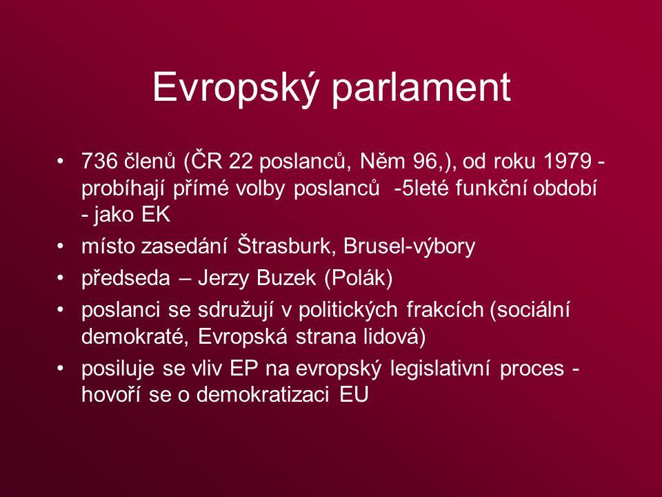 Evropský parlament 736 členů (ČR 22 poslanců, Něm 96,), od roku 1979 - probíhají přímé volby poslanců -5leté funkční období - jako EK místo zasedání Štrasburk, Brusel-výbory předseda – Jerzy Buzek (Polák) poslanci se sdružují v politických frakcích (sociální demokraté, Evropská strana lidová) posiluje se vliv EP na evropský legislativní proces - hovoří se o demokratizaci EU
