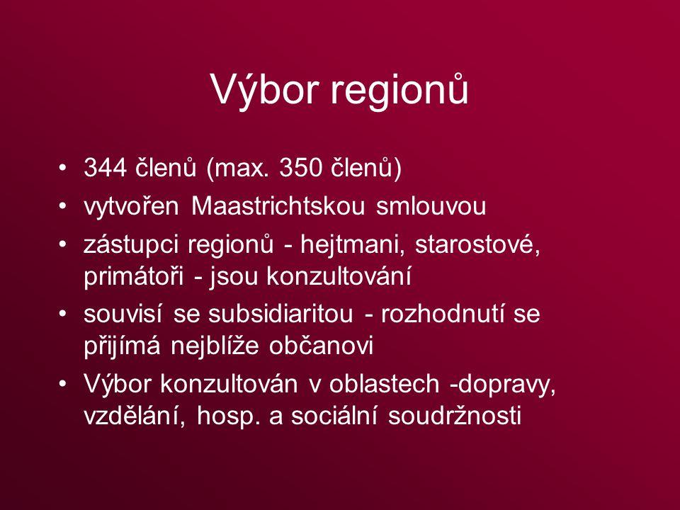 Výbor regionů 344 členů (max.