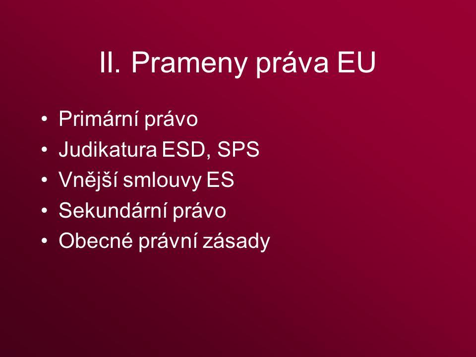 II. Prameny práva EU Primární právo Judikatura ESD, SPS Vnější smlouvy ES Sekundární právo Obecné právní zásady