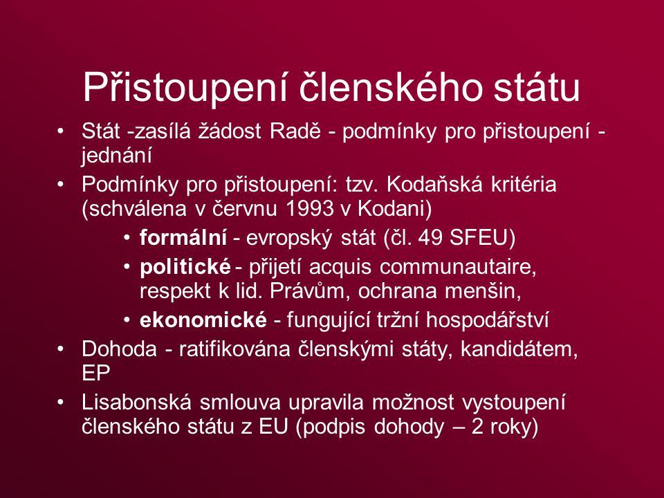 Přistoupení členského státu Stát -zasílá žádost Radě - podmínky pro přistoupení - jednání Podmínky pro přistoupení: tzv.