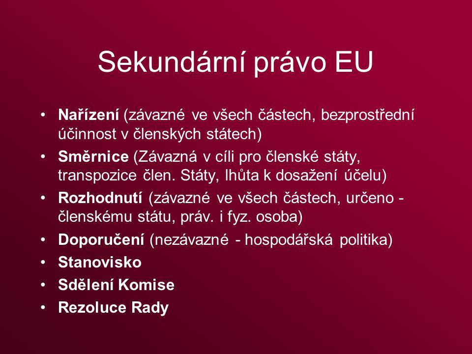 Sekundární právo EU Nařízení (závazné ve všech částech, bezprostřední účinnost v členských státech) Směrnice (Závazná v cíli pro členské státy, transpozice člen.