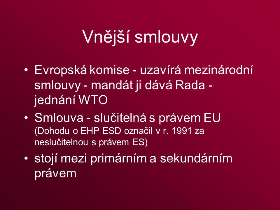Vnější smlouvy Evropská komise - uzavírá mezinárodní smlouvy - mandát ji dává Rada - jednání WTO Smlouva - slučitelná s právem EU (Dohodu o EHP ESD označil v r.
