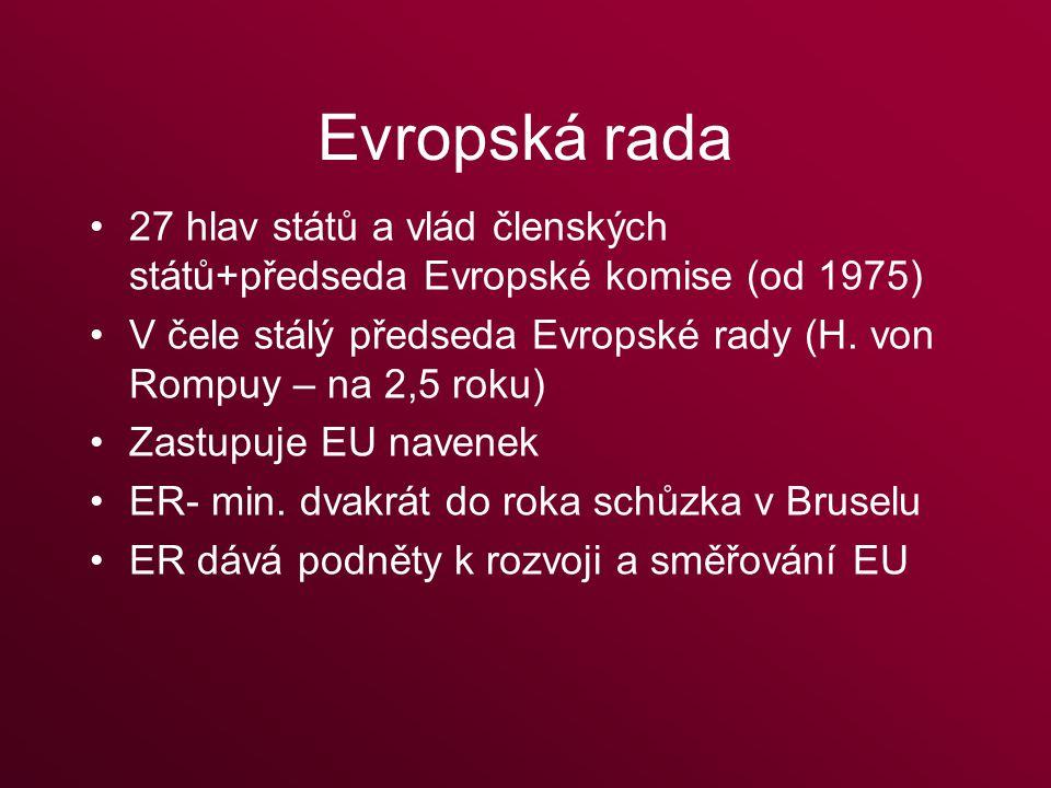 Evropská rada 27 hlav států a vlád členských států+předseda Evropské komise (od 1975) V čele stálý předseda Evropské rady (H.