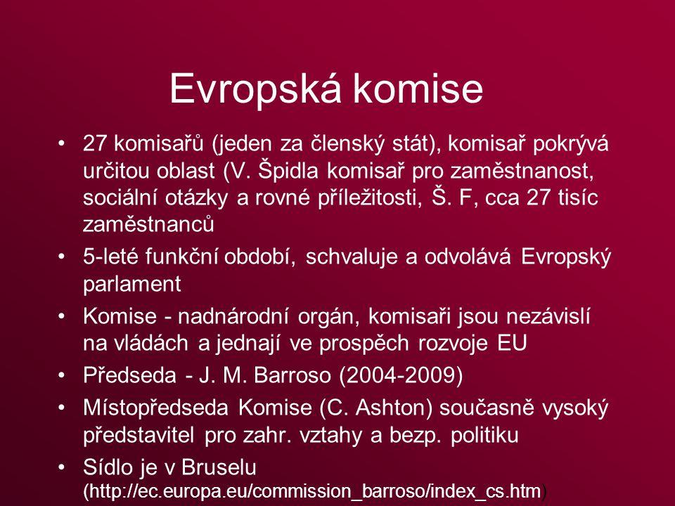 Evropská komise 27 komisařů (jeden za členský stát), komisař pokrývá určitou oblast (V.
