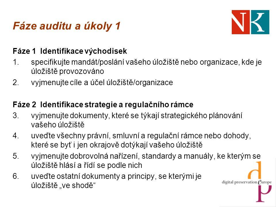 """Fáze auditu a úkoly 1 Fáze 1 Identifikace východisek 1.specifikujte mandát/poslání vašeho úložiště nebo organizace, kde je úložiště provozováno 2.vyjmenujte cíle a účel úložiště/organizace Fáze 2Identifikace strategie a regulačního rámce 3.vyjmenujte dokumenty, které se týkají strategického plánování vašeho úložiště 4.uveďte všechny právní, smluvní a regulační rámce nebo dohody, které se byť i jen okrajově dotýkají vašeho úložiště 5.vyjmenujte dobrovolná nařízení, standardy a manuály, ke kterým se úložiště hlásí a řídí se podle nich 6.uveďte ostatní dokumenty a principy, se kterými je úložiště """"ve shodě"""