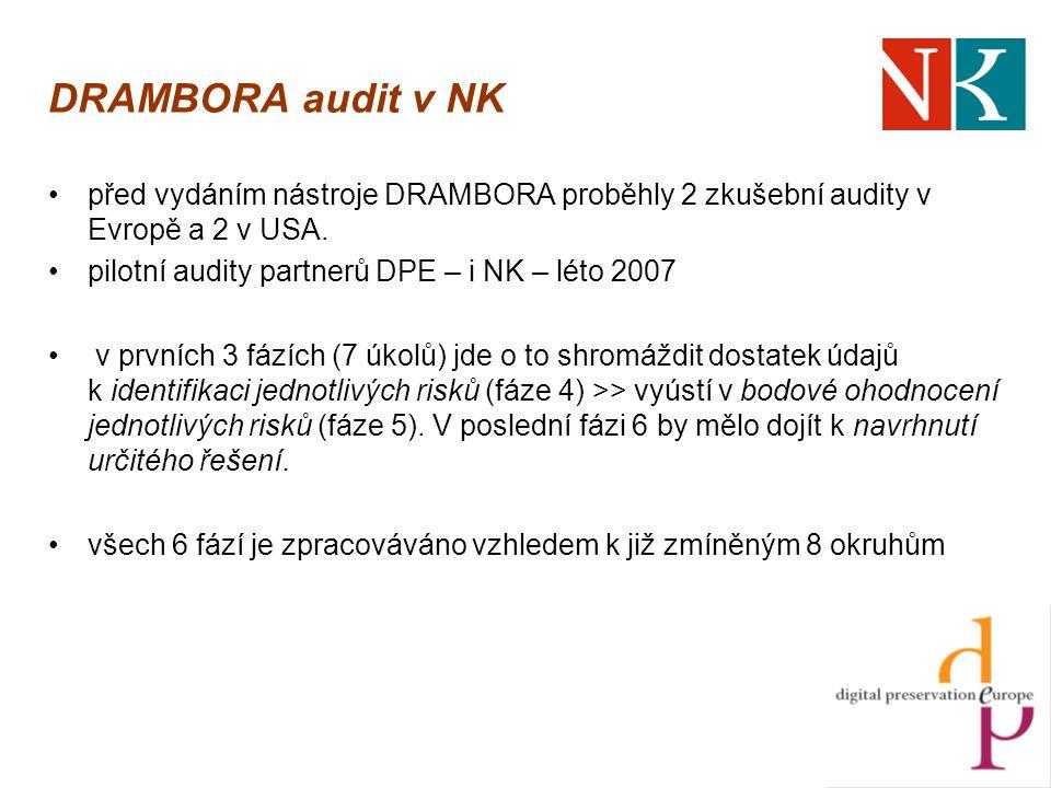DRAMBORA audit v NK před vydáním nástroje DRAMBORA proběhly 2 zkušební audity v Evropě a 2 v USA.