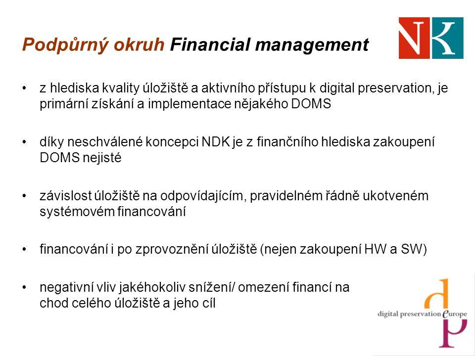 Podpůrný okruh Financial management z hlediska kvality úložiště a aktivního přístupu k digital preservation, je primární získání a implementace nějakého DOMS díky neschválené koncepci NDK je z finančního hlediska zakoupení DOMS nejisté závislost úložiště na odpovídajícím, pravidelném řádně ukotveném systémovém financování financování i po zprovoznění úložiště (nejen zakoupení HW a SW) negativní vliv jakéhokoliv snížení/ omezení financí na chod celého úložiště a jeho cíl