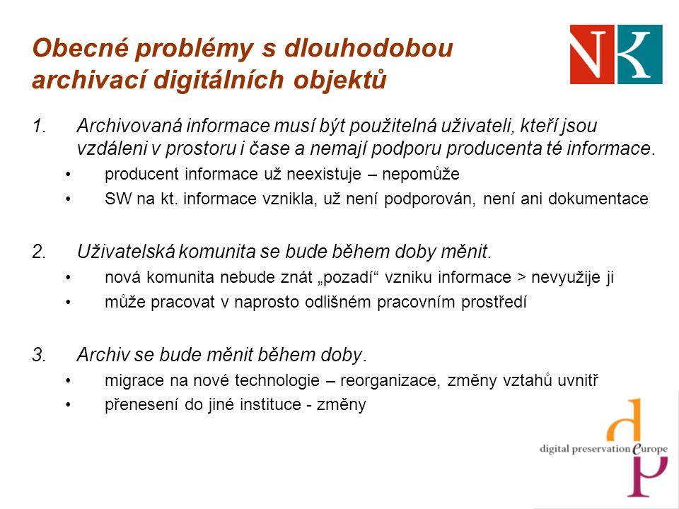 Obecné problémy s dlouhodobou archivací digitálních objektů 1.Archivovaná informace musí být použitelná uživateli, kteří jsou vzdáleni v prostoru i čase a nemají podporu producenta té informace.
