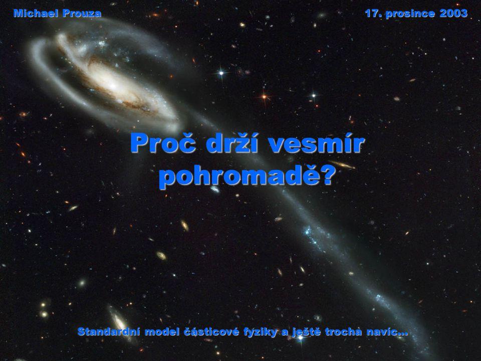 Parametry vítězného modelu  CDM kosmologie v současné době vítězí model  CDM kosmologie horkým velkým třeskem vznikl horkým velkým třeskem plochýkritické množství hmoty rozpínání se zrychluje vesmír je plochý, obsahuje přesně kritické množství hmoty a energie, jeho rozpínání se zrychluje inflace 10 -32 s po velkém třesku nastalo období inflace, kdy se díky kvantovým fluktuacím utvořily počáteční nehomogenity vesmíru nezbytné pro vznik všech struktur ze dvou třetin temná energiez jedné třetiny temná hmota k pozorované kritické hustotě přispívá ze dvou třetin temná energie (patrně kosmologická konstanta), z jedné třetiny temná hmota, zářící hvězdy tvoří zhruba půl procenta