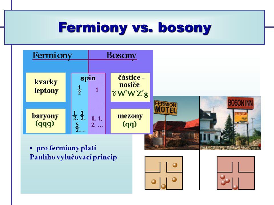 Fermiony vs. bosony pro fermiony platí Pauliho vylučovací princip