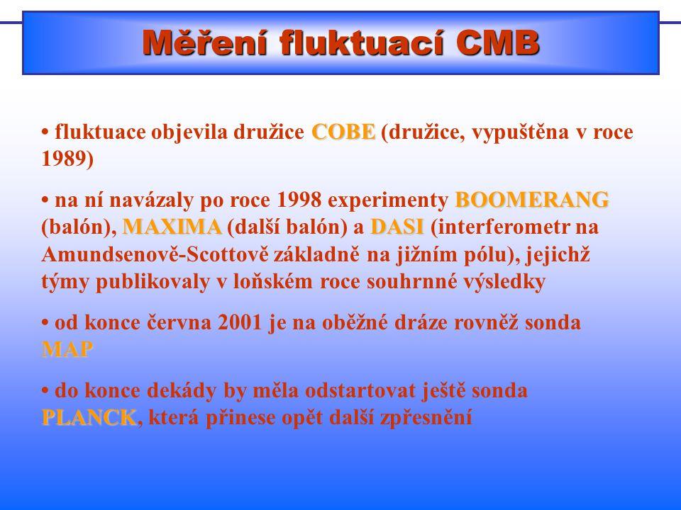 Měření fluktuací CMB COBE fluktuace objevila družice COBE (družice, vypuštěna v roce 1989) BOOMERANG MAXIMADASI na ní navázaly po roce 1998 experimenty BOOMERANG (balón), MAXIMA (další balón) a DASI (interferometr na Amundsenově-Scottově základně na jižním pólu), jejichž týmy publikovaly v loňském roce souhrnné výsledky MAP od konce června 2001 je na oběžné dráze rovněž sonda MAP PLANCK do konce dekády by měla odstartovat ještě sonda PLANCK, která přinese opět další zpřesnění