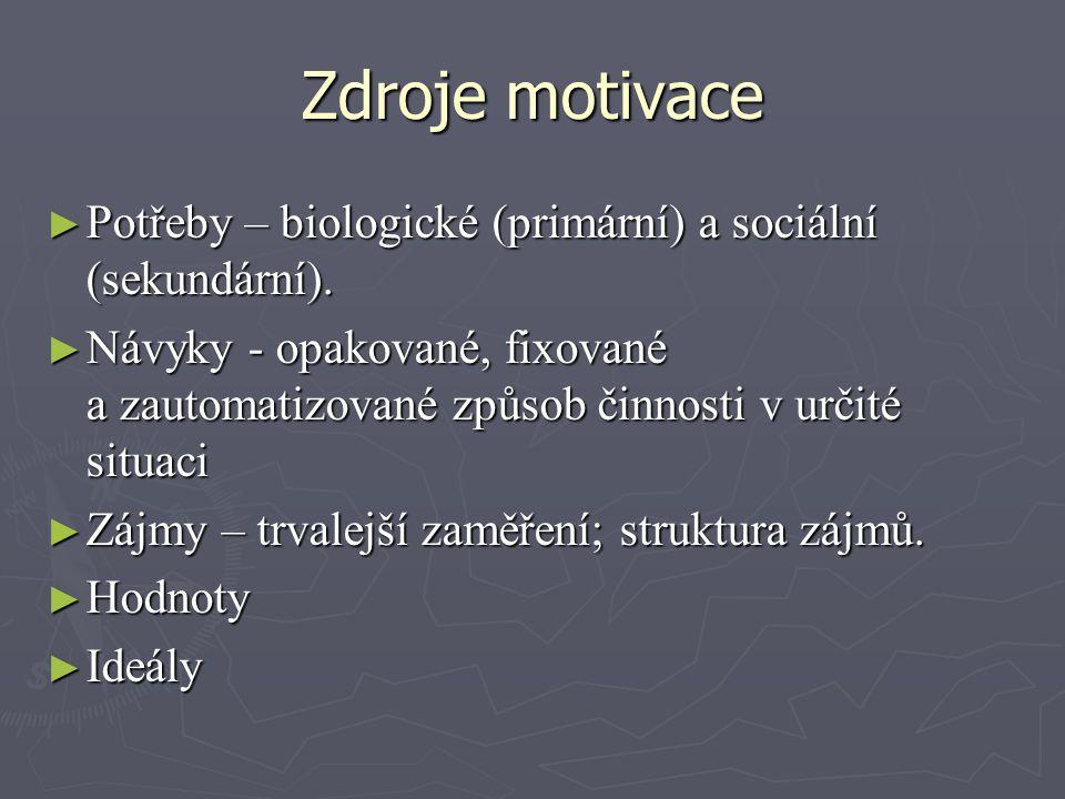 Zdroje motivace ► Potřeby – biologické (primární) a sociální (sekundární). ► Návyky - opakované, fixované a zautomatizované způsob činnosti v určité s