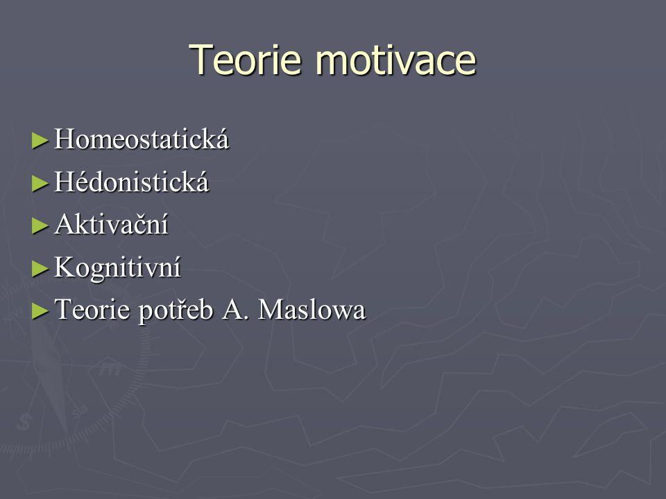 Teorie motivace ► Homeostatická ► Hédonistická ► Aktivační ► Kognitivní ► Teorie potřeb A. Maslowa