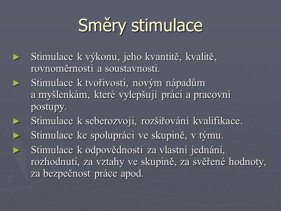 Směry stimulace ► Stimulace k výkonu, jeho kvantitě, kvalitě, rovnoměrnosti a soustavnosti. ► Stimulace k tvořivosti, novým nápadům a myšlenkám, které