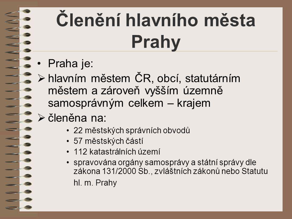 Členění hlavního města Prahy Praha je:  hlavním městem ČR, obcí, statutárním městem a zároveň vyšším územně samosprávným celkem – krajem  členěna na