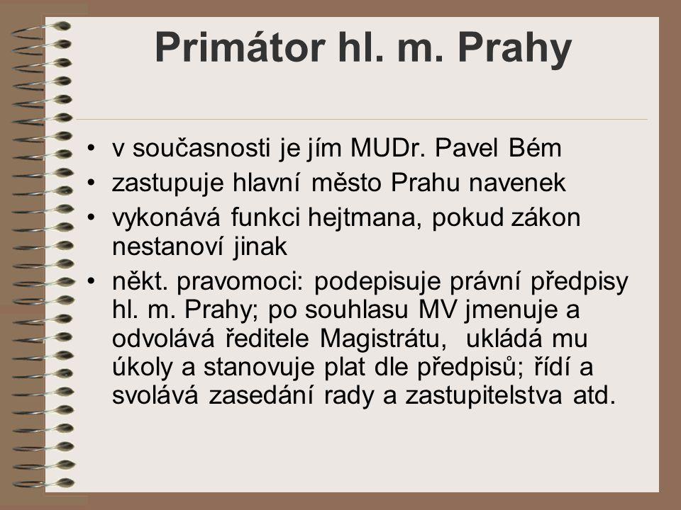 Primátor hl. m. Prahy v současnosti je jím MUDr. Pavel Bém zastupuje hlavní město Prahu navenek vykonává funkci hejtmana, pokud zákon nestanoví jinak