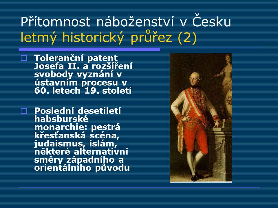 Přítomnost náboženství v Česku letmý historický průřez (2)  Toleranční patent Josefa II. a rozšíření svobody vyznání v ústavním procesu v 60. letech