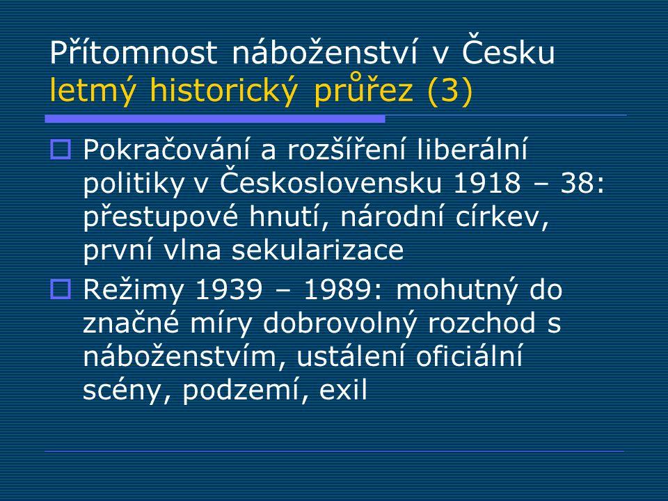 Přítomnost náboženství v Česku letmý historický průřez (3)  Pokračování a rozšíření liberální politiky v Československu 1918 – 38: přestupové hnutí,