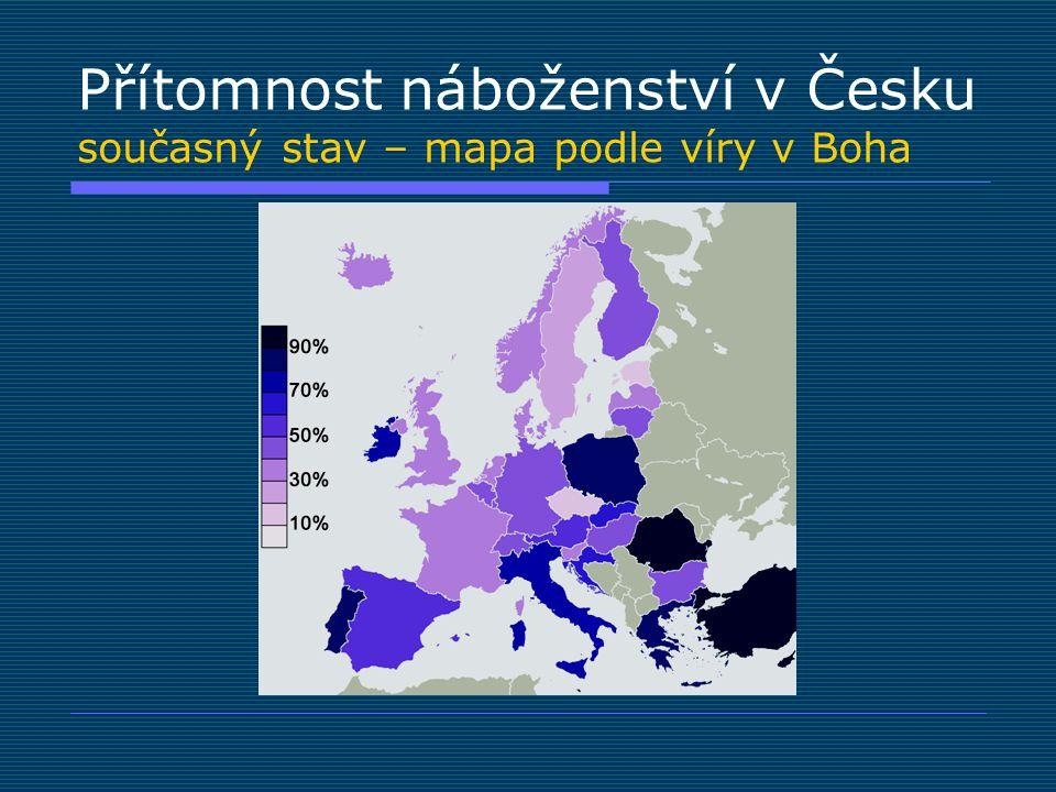 Přítomnost náboženství v Česku současný stav – mapa podle víry v Boha