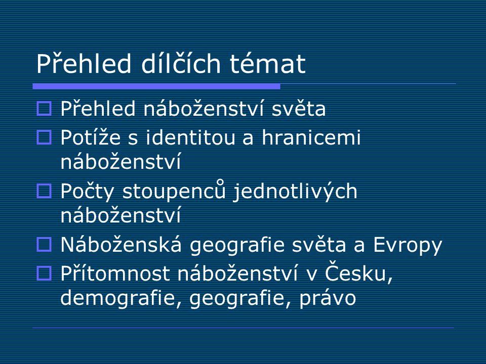 Přehled dílčích témat  Přehled náboženství světa  Potíže s identitou a hranicemi náboženství  Počty stoupenců jednotlivých náboženství  Náboženská geografie světa a Evropy  Přítomnost náboženství v Česku, demografie, geografie, právo
