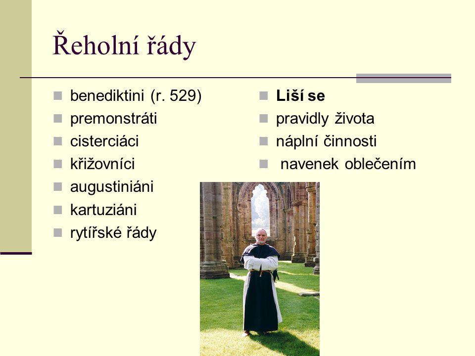Řeholní řády benediktini (r. 529) premonstráti cisterciáci křižovníci augustiniáni kartuziáni rytířské řády Liší se pravidly života náplní činnosti na