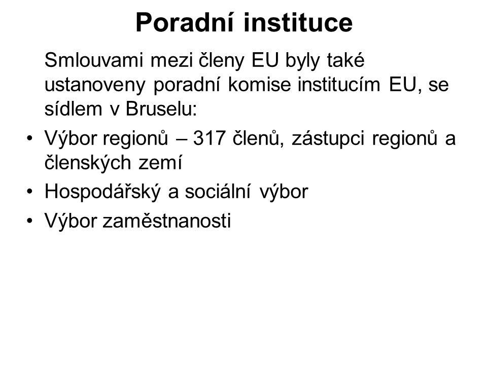 Evropské agentury Patří k nim dalších 16 institucí (stav 2005) založených sekundárním právem.