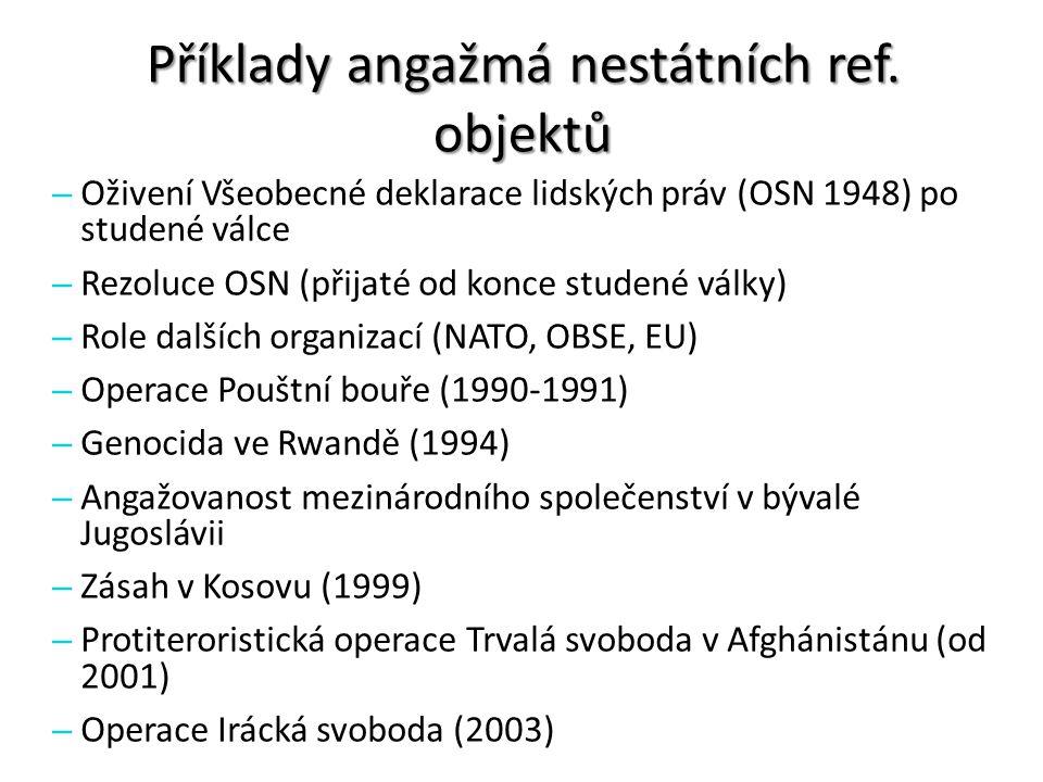 Příklady angažmá nestátních ref. objektů – Oživení Všeobecné deklarace lidských práv (OSN 1948) po studené válce – Rezoluce OSN (přijaté od konce stud