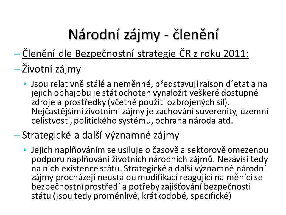 Národní zájmy - členění – Členění dle Bezpečnostní strategie ČR z roku 2011: – Životní zájmy Jsou relativně stálé a neměnné, představují raison d´etat