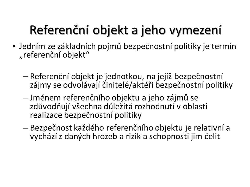 """Referenční objekt a jeho vymezení Jedním ze základních pojmů bezpečnostní politiky je termín """"referenční objekt"""" – Referenční objekt je jednotkou, na"""