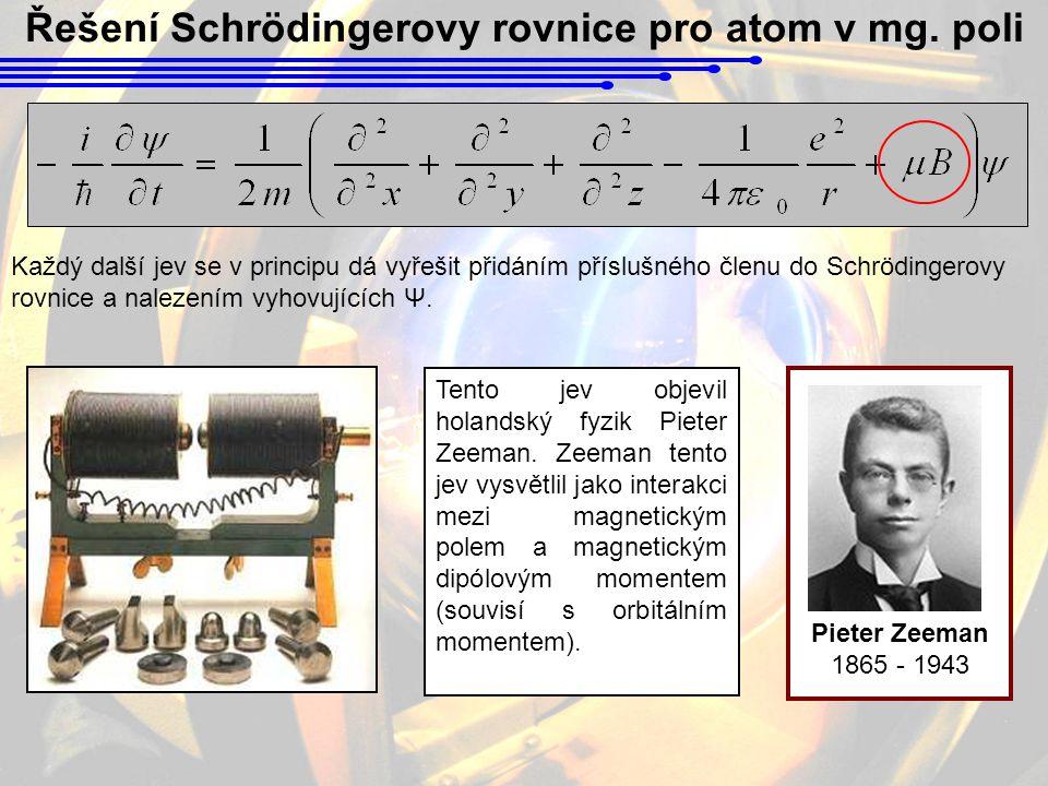 Řešení Schrödingerovy rovnice pro atom v mg. poli Každý další jev se v principu dá vyřešit přidáním příslušného členu do Schrödingerovy rovnice a nale