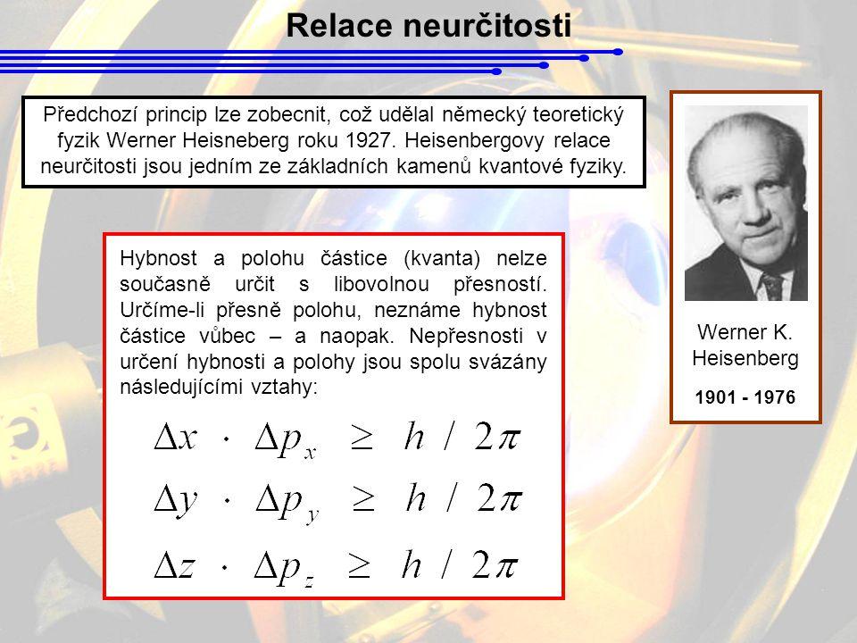 Relace neurčitosti Werner K. Heisenberg 1901 - 1976 Předchozí princip lze zobecnit, což udělal německý teoretický fyzik Werner Heisneberg roku 1927. H
