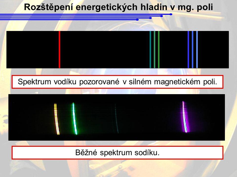 Rozštěpení energetických hladin v mg. poli Spektrum vodíku pozorované v silném magnetickém poli. Běžné spektrum sodíku.