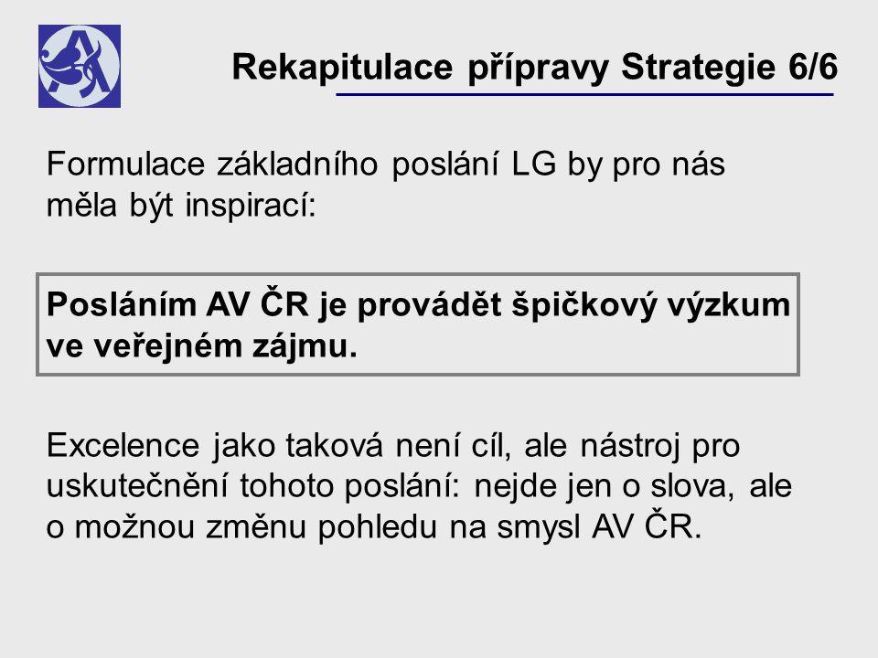 Formulace základního poslání LG by pro nás měla být inspirací: Posláním AV ČR je provádět špičkový výzkum ve veřejném zájmu. Excelence jako taková nen