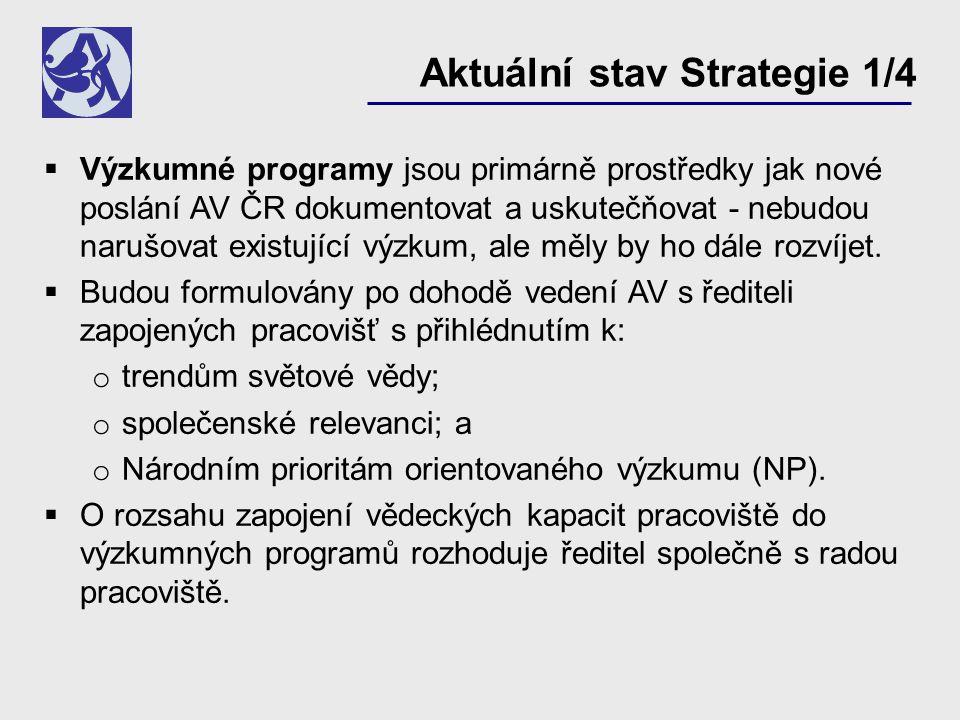 Výzkumné programy jsou primárně prostředky jak nové poslání AV ČR dokumentovat a uskutečňovat - nebudou narušovat existující výzkum, ale měly by ho