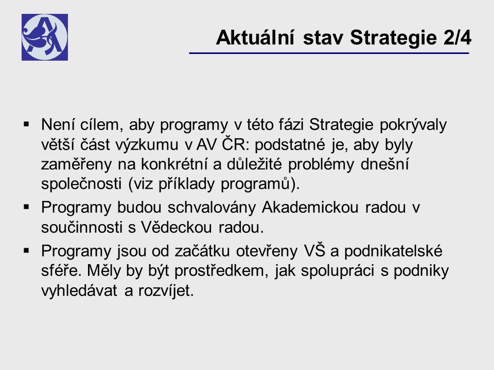  Není cílem, aby programy v této fázi Strategie pokrývaly větší část výzkumu v AV ČR: podstatné je, aby byly zaměřeny na konkrétní a důležité problémy dnešní společnosti (viz příklady programů).