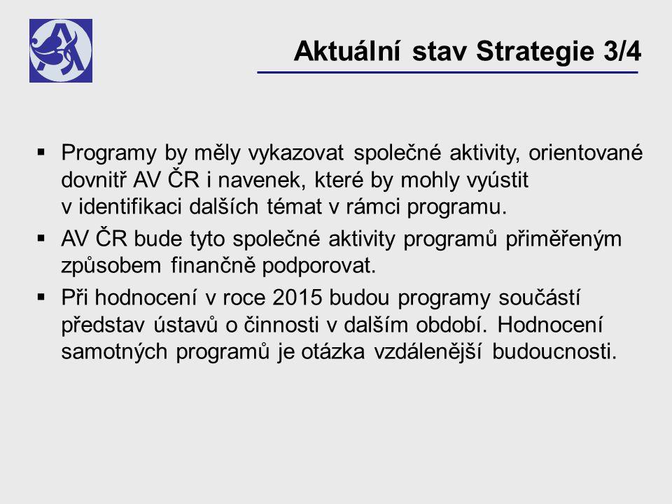  Programy by měly vykazovat společné aktivity, orientované dovnitř AV ČR i navenek, které by mohly vyústit v identifikaci dalších témat v rámci programu.