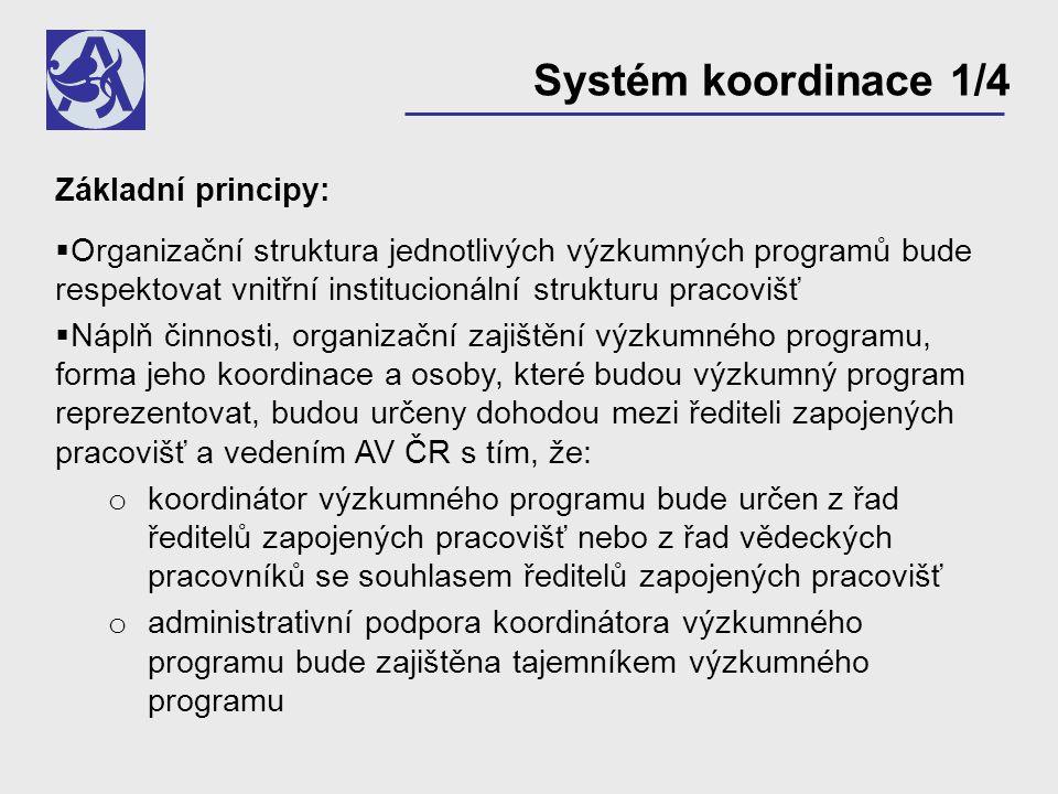 Systém koordinace 1/4 Základní principy:  Organizační struktura jednotlivých výzkumných programů bude respektovat vnitřní institucionální strukturu pracovišť  Náplň činnosti, organizační zajištění výzkumného programu, forma jeho koordinace a osoby, které budou výzkumný program reprezentovat, budou určeny dohodou mezi řediteli zapojených pracovišť a vedením AV ČR s tím, že: o koordinátor výzkumného programu bude určen z řad ředitelů zapojených pracovišť nebo z řad vědeckých pracovníků se souhlasem ředitelů zapojených pracovišť o administrativní podpora koordinátora výzkumného programu bude zajištěna tajemníkem výzkumného programu