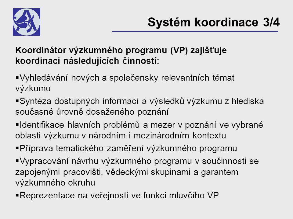Koordinátor výzkumného programu (VP) zajišťuje koordinaci následujících činností:  Vyhledávání nových a společensky relevantních témat výzkumu  Synt