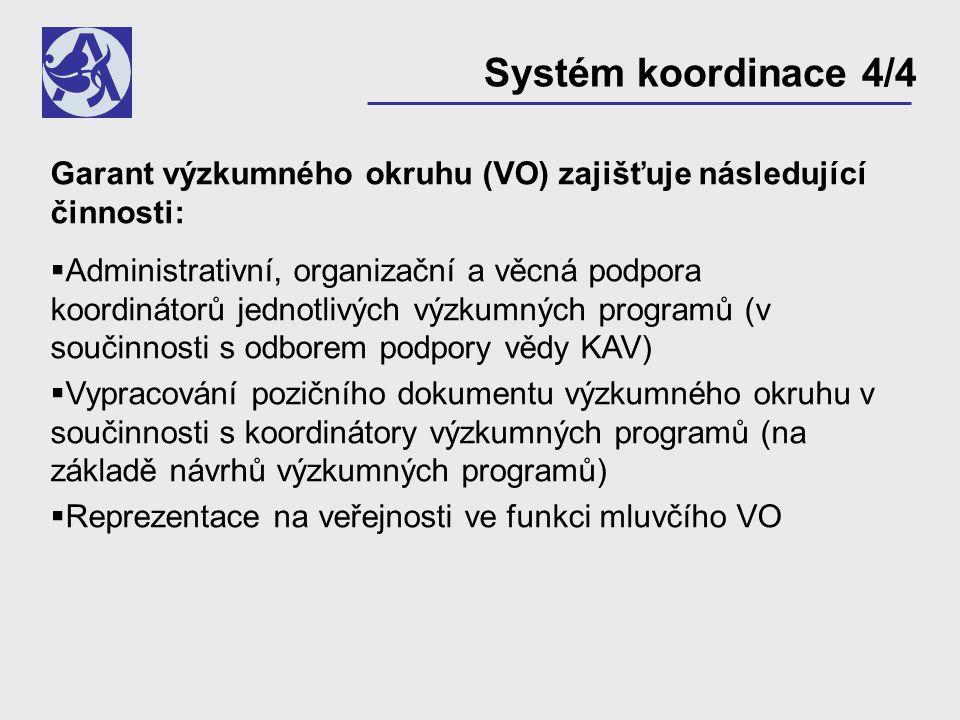 Garant výzkumného okruhu (VO) zajišťuje následující činnosti:  Administrativní, organizační a věcná podpora koordinátorů jednotlivých výzkumných programů (v součinnosti s odborem podpory vědy KAV)  Vypracování pozičního dokumentu výzkumného okruhu v součinnosti s koordinátory výzkumných programů (na základě návrhů výzkumných programů)  Reprezentace na veřejnosti ve funkci mluvčího VO Systém koordinace 4/4