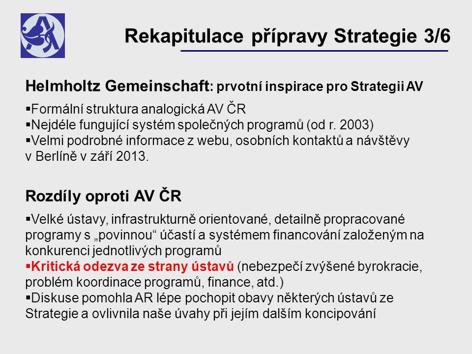 Helmholtz Gemeinschaft : prvotní inspirace pro Strategii AV  Formální struktura analogická AV ČR  Nejdéle fungující systém společných programů (od r.